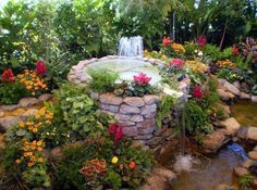 waterfalls, water gardens, flowering plants, water features, beauti, small gardens, backyard, garden fountains, art projects
