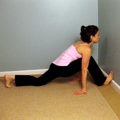 Foot and Hip Flexor Wall Stretch: a more intense stretch that will not only target your feet and calves, but also your hip flexors, which get tight when you wear heels.