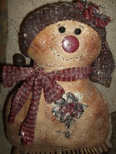 Primitive Frosty Sparkling Snowman Doll Folk Art Winter Valentine Stuffie
