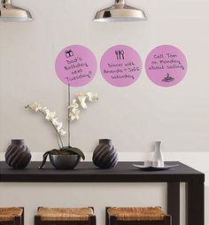 WallPops Plush Dry Erase Dots - http://www.wallpops.com/plush-purple-dry-erase-dots-decals.aspx #walldecals  #wallart  #peelandstick  #WallPops  #wallstickers  #decor  #DIY  #decorating
