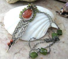 sunstone necklace with vesuvianite in by EdisLittleTreasures, $149.00