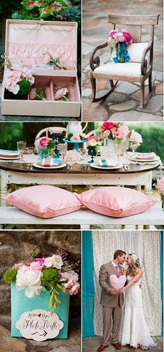 Teal Pink Wedding