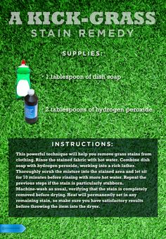There's no need to gripe about grass stains this soccer season. #StainRemover #GrassStainFix #HydrogenPeroxideRemedy #GreenBeGone #SoccerMomProblems #housetips