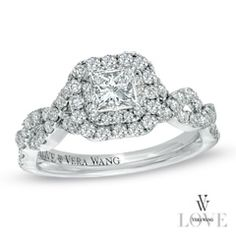 IN LOVE with this VERA WANG RING!! :)) Vera Wang LOVE Collection 1 CT. T.W. Princess-Cut Diamond Double Frame Twist Engagement Ring in 14K White Gold