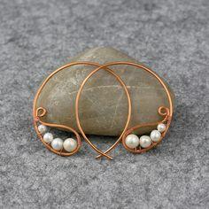 Pearl copper wiring hoop Earring handmade ani designs
