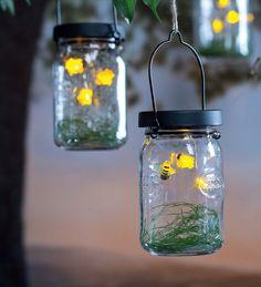Solar Firefly Mason Jar Lanterns, Set of 2