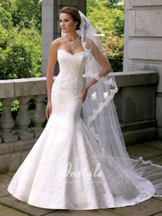 satin mermaid wedding dress uk with strapless sweetheart hand-beaded re-embroidered lace bodice