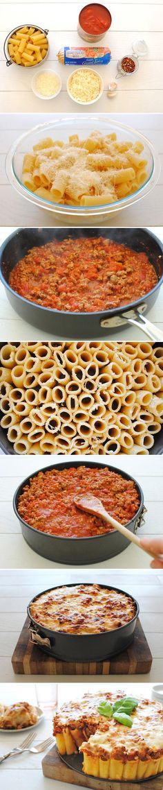 Baked rigatoni pasta pie. So creative, and really easy! Click for steps and instructions.