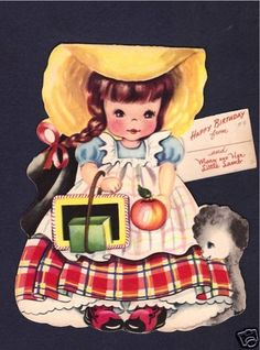 Mary Had A Little Lamb Paper doll Birthday Card_American Greetings, 1949
