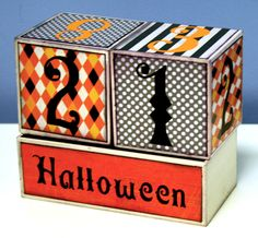 Oh My Crafts Blog: Halloween Countdown Blocks halloween idea, halloween craft, halloween block, halloween countdown, craft idea, block talk, craft blogs, countdown block, crafts