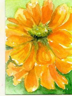 Yellow Zinnia Aceo Art