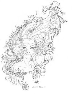 L'Esprit d'Automne Line Art - Original Pencil Drawing on Etsy, $95.00 - autumn, fall, fantasy, art nouveau, pumpkin, harvest, mice, leaves