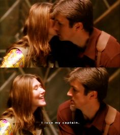 Kaylee and Mal.  I love how Mal is tough and tries to act like he doesn't care, but when it comes to Kaylee, Mal can't help but be lovable.