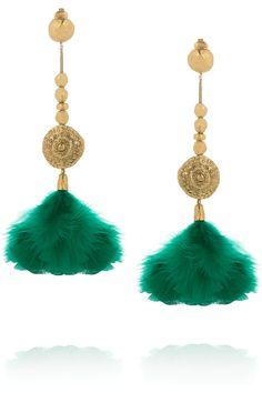 #AURÉLIE BIDERMANN  Cités d'Or 18-karat gold-plated feather clip earrings