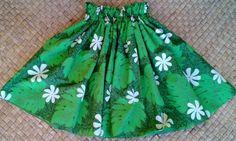 A child's green hula pa'u hula skirt Hawaiian skirt by SewMeHawaii