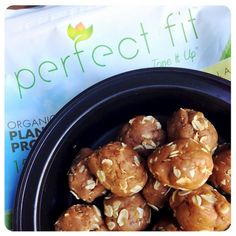 Nut Butter Oat Protein Balls shared by manda_tiu! Makes 12-15 balls ~ 2/3 cup of your favorite nut butter, 1/3 cup unsweetened almond milk, 1 scoop vanilla Perfect Fit Protein, and 1/4 cup oats.  Microwave nut butter and almond milk for 2 minutes, stir until smooth. Mix in protein powder and oats. Roll into balls and refrigerate for at least 15 minutes. Enjoy!!