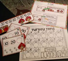 Thanksgiving math and literacy centers for Kinders. Skills include: counting by 10's, fill in the missing number, greater than/less than, measuring, count and total, addition to 5, and more. Common Core aligned.