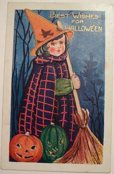 Halloween with both orange and green jack o' lanterns