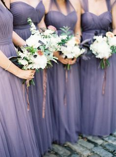 purple bridesmaid dresses, photo by Jen Huang http://ruffledblog.com/intimate-wedding-at-the-foundry-in-brooklyn #bridesmaiddress #bridesmaids
