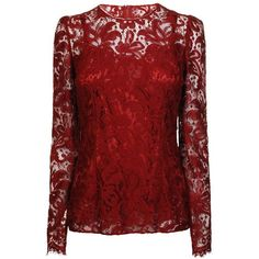 DOLCE & GABBANA Lace Long Sleeve Top ($1,245) ❤ liked on Polyvore