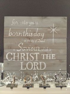 """Christmas sign Luke 2:11:1x6 pine boards from Home Depot stained with a color called """"sunbleached"""" and wrote Luke 2:11 with a white Sharpie paint pen."""