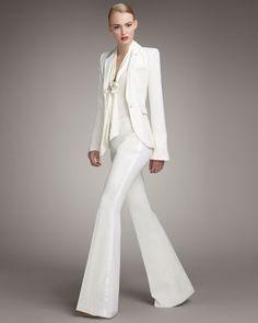 fashion, rachel zoe, white suit, tuxedo, style