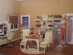 Amazzzzzzing site with re-painted Barbie doll houses/furniture/rooms ~ kitchen, living room, nursery, bedroom, laundry room, den bathroom etc. AND her Barbie Room!!!! Wow!!! Barbie'S House, Dolls Houses Furniture, Barbie Ideas, Dolly Dolls, Barbie Rooms, Barbie Houses Furniture, Dolls Dioramas, Barbie Dolls House Furniture, Barbie Dollshouse