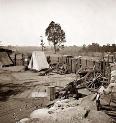 Confederate fort in front of Atlanta. It was taken in 1864 by George Barnard.