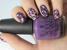 Pink and Purple Leopard Print Nails