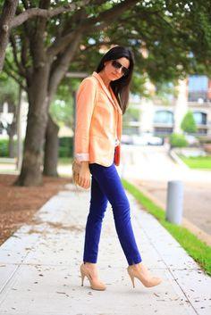 peach blazer, crop pant, fashion, style, outfit