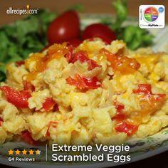 Extreme Veggie Scrambled Eggs from Allrecipes.com #myplate #protein #dairy #veggies