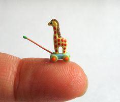 Miniature  1/4 scale Cheerful Giraffe Pull Toy OOAK by C. Rohal