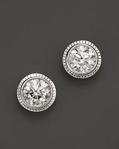 Diamond Bezel Studs in 14K White Gold, 1.50 ct. t.w. | Bloomingdale's