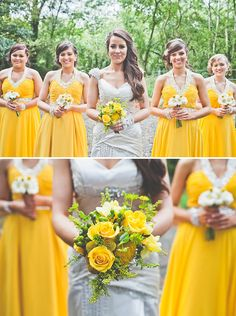 A Homemade Rustic Barn Wedding/// CHECK OUT those dresses!!! And that wedding dress is AWESOME.