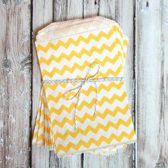 Chevron Favor Bags - Yellow - Medium