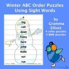 ABC Order Puzzles for Sight Word Practice - Winter Theme - Freebie