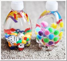 Calming bottles - things for kids to look at while calming themselves down.