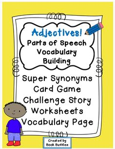 Fun 52-card adjectives and synonyms game with variations, plus lots of practice activities for your kids to master basic adjectives and higher level synonyms. Great for literacy centers, vocabulary, reading and writing! $