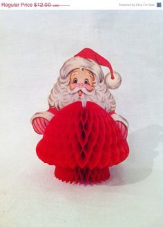 Awesome vintage 80s honeycomb Santa = perfect cheeky centerpiece. #cydconverse