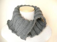 Knit 2 Button Cowl Soft Slate Grey by WindyCityKnits on Etsy #grey #scarf #cowl #fashion