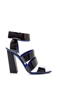 Black Leather Sandal With Blue Sole by Proenza Schouler for Preorder on Moda Operandi