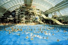 West Edmonton Mall, the largest shopping mall in North America and fifth in the world, it boasts swimming and wave pools, water slides, hotels with theme rooms, 165 stores, food courts, library, casino, night clubs, sea world and much more