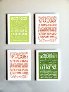 Holiday recipes as Christmas cards!