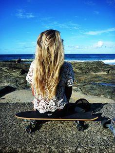 beaches, the ocean, long hair, blond, summer, longboard, skateboard, beach hair, shirt