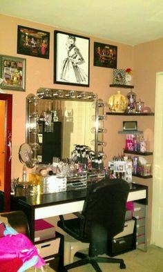 vaniti flair, makeup vanities, ikea desk, wall shelves, corner shelves, desk and vanity