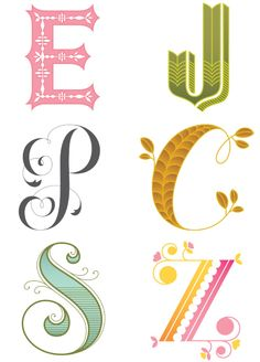 Beautiful letters @ Twig and Thistle designed by Jessica Hische, a renowned illustrator, designer and typographer.