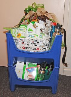 auction baskets, basket idea, green basket, gift basket