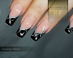 Black and Silver French Tip Nail Art