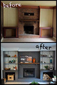 DIY Fireplace Redo - paint, shelves, geometric wallpaper and a new fireplace door!