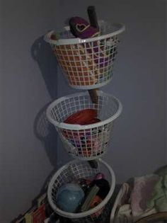 DIY Basket Tree - Dollar Store Organization idea